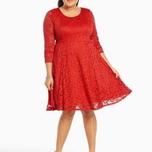 TORRID Red Floral Lace  3/4 Sleeve Skater Dress